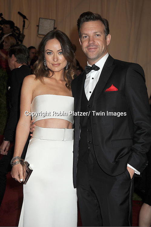 Olivia Wilde and Jason Sudeikis attends  the Metropolitan Museum of Art Costume Institute Beneift celebrating the opening of  PUNK: Chaos .to Couture on May 6, 2013 in New York City.
