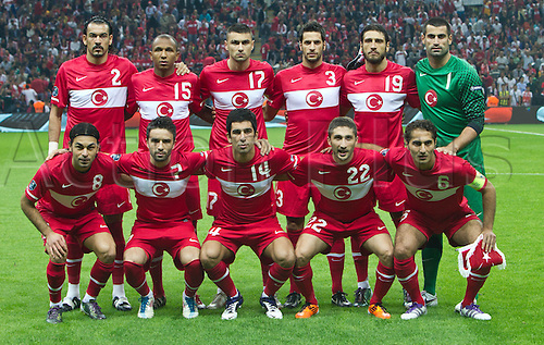 07.10.2011 Istanbul Turkey.  Turkey`s players (top left to bottom right)  Servet Cetin, Mehmet Aurelio, Burak Yilmaz, Hakan Balta, Egemen Korkmaz, Volkan Demirel, Selcuk Inan, Goekhan Goenuel, Arda Turan, Sabri Sarioglu and Hamit Altintop pose prior to the EURO 2012 qualifying match between Turkey and Germany at the Turk Telekom Arena.