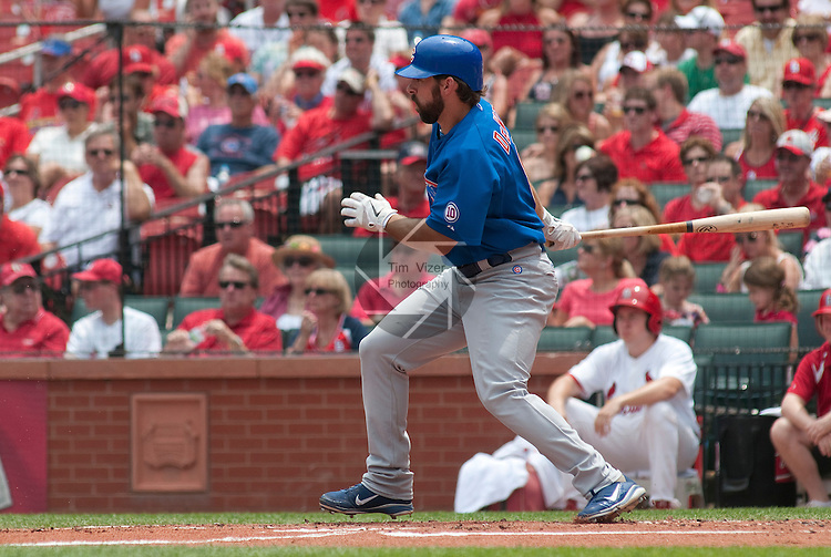 05 June 2011                 Chicago Cubs second baseman Blake DeWitt (9) bats early in the game. The St. Louis Cardinals defeated the Chicago Cubs 3-2 in ten innings on Sunday June 5, 2011 in the final game of a three-game series at Busch Stadium in downtown St. Louis.
