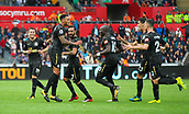 10th September 2017, Liberty Stadium, Swansea, Wales; EPL Premier League football, Swansea versus Newcastle United; Jamaal Lascelles (captain) of Newcastle United celebrates after scoring his sides first goal in the 76th minute of the match
