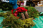 BETHLEHEM, CT. 06 December 2018-120618 - Pine cones , red bows, and small branches line the table during the annual Wreath making social event at March Farms in Bethlehem on Thursday. Sue March the owner of March Farms says for everyone to sig up and get your spots early next year as they went very quickly this year. Bill Shettle Republican-American