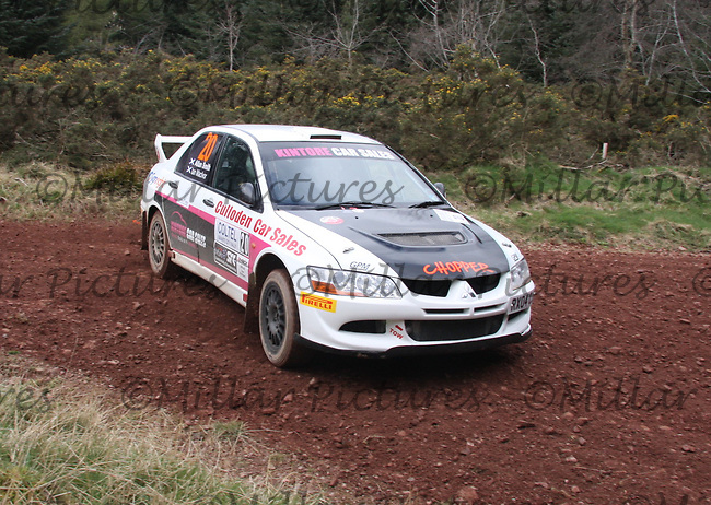 Allan Smith / Ian MacIvor in a Mitsubishi Evolution 8 at Junction 8 on Whytes Cranes Special Stage 3 Drumtochty of the Coltel Granite City Rally 2012 which was based at the Thainstone Agricultural Centre, Inverurie.