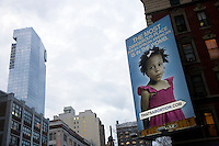 "As part of a national campaign, the anti-abortion group Life Always unveiled a controversial billboard on 22 February 2011 in New York City, New York, on the corner of Watts Street and Sixth Avenue.  About a half-mile from the Planned Parenthood on Bleeker Street, the billboard shows an image of an African American girl and the caption, ""The most dangerous place for an African American is in the womb.""  Image taken on  24 February 2011."