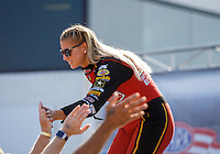 Sep 5, 2016; Clermont, IN, USA; NHRA top fuel driver Leah Pritchett during the US Nationals at Lucas Oil Raceway. Mandatory Credit: Mark J. Rebilas-USA TODAY Sports