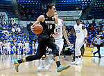 January 24, 2017:  San Diego State forward, Max Hoetzel #10, drives for the basket during the NCAA basketball game between the San Diego State Aztecs and the Air Force Academy Falcons, Clune Arena, U.S. Air Force Academy, Colorado Springs, Colorado.  Air Force defeats San Diego State 60-57.