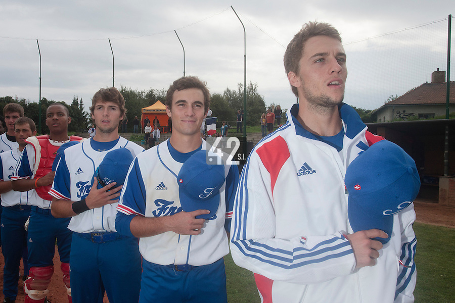 18 August 2010: Quentin Pourcel, Andy Pitcher, Jonathan Dechelle, Andy Paz, are seen during the national anthem prior to the France 7-3 win over Ukraine, at the 2010 European Championship, under 21, in Brno, Czech Republic.