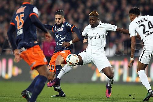03.12.2016. Montpellier, France. French Leagie 1 football. Montpellier versus Paris Saint Germain.  Ryad BOUDEBOUZ (MHSC) challenges Serge Aurier psg
