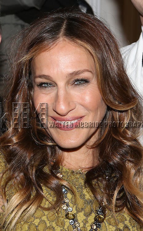 Sarah Jessica Parker attends the re-opening night performance backstage reception for 'It's Only A Play' at the Bernard B. Jacobs Theatre on January 23, 2014 in New York City.