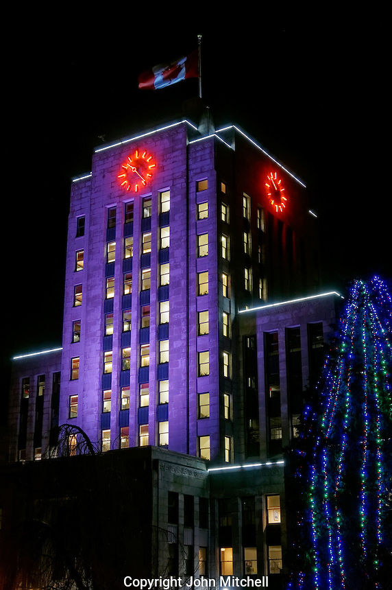Night shot of  Vancouver's Art Deco style City Hall building, Vancouver, British Columbia, Canada