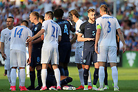 Tempers flare after Milan Skriniar of Slovakia catches Tammy Abraham of England during Slovakia Under-21 vs England Under-21, UEFA European Under-21 Championship Football at The Kolporter Arena on 19th June 2017
