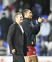 Stevenage manager Graham Westley and goalscorer Darius Charles celebrates victory.Reading v Stevenage - FA Cup 3rd Round - Madejski Stadium,.Reading - 7th January, 2012.© Kevin Coleman 2012