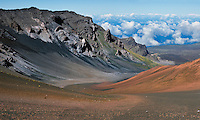 The flowing lines of erosion in the crater of HALEAKALA NATIONAL PARK on Maui in Hawaii have created a natural landscape for all to enjoy