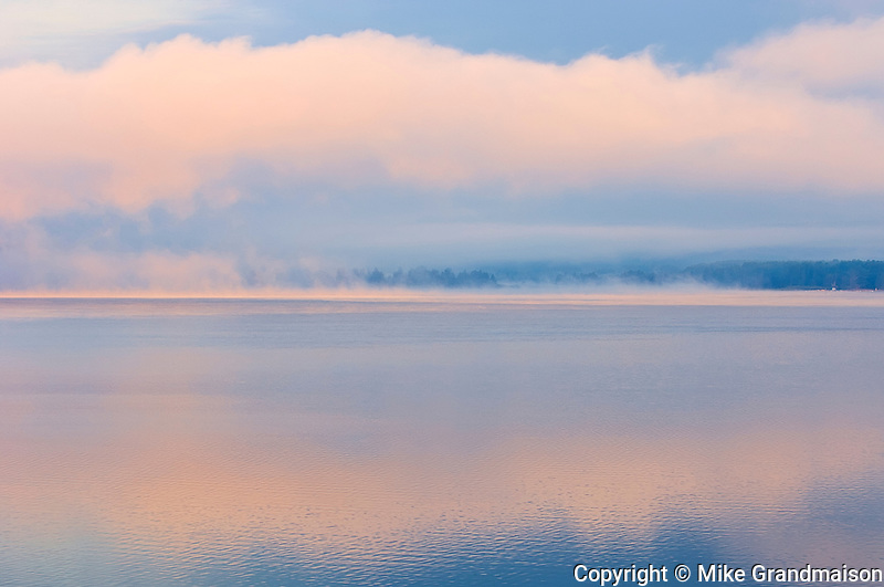 Fog on Lake of Two Rivers st sunrise<br />