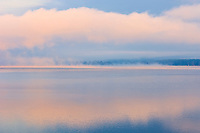 Fog on Lake of Two Rivers st sunrise<br />Algonquin Provincial Park<br />Ontario<br />Canada