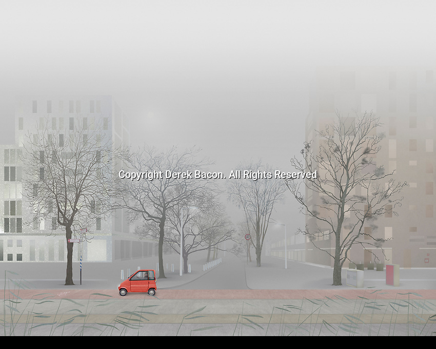 Man driving small car in empty foggy city street