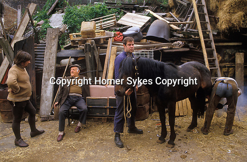 Johnny Pinto's Horse yard, Hackney 1980s London Totters rag and bone man. ( Mr Tinto is sitting down)