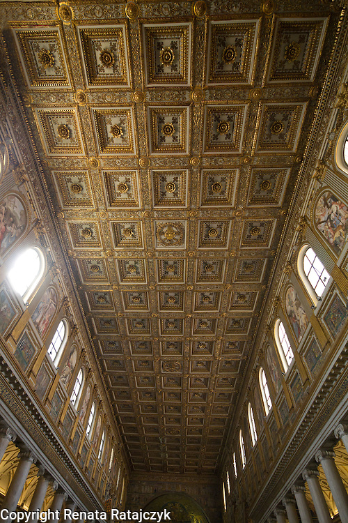 The gold covered ceiling of Santa Maria di Maggiore basilica, Rome, Italy.