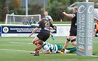 David Johnston of Ealing Trailfinders scores a try during the RFU Championship Cup match between Ealing Trailfinders and Ampthill RUFC at Castle Bar , West Ealing , England  on 28 September 2019. Photo by Alan  Stanford / PRiME Media Images
