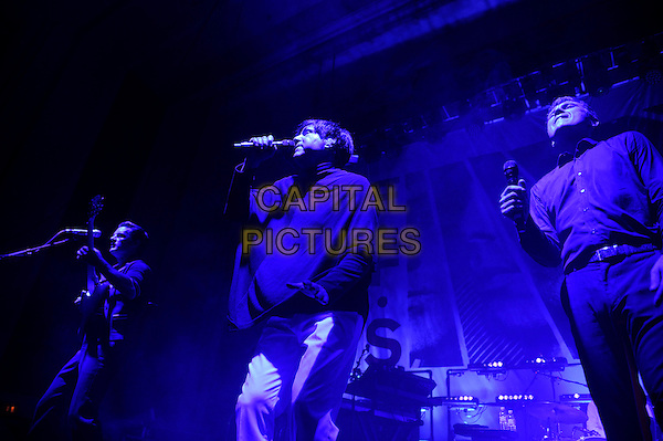 LONDON, ENGLAND - JUNE 29: Nick McCarthy, Russell Mael and Alex Kapranos of 'F.F.S' performing at The Troxy on June 29, 2015 in London, England.<br /> CAP/MAR<br /> &copy; Martin Harris/Capital Pictures