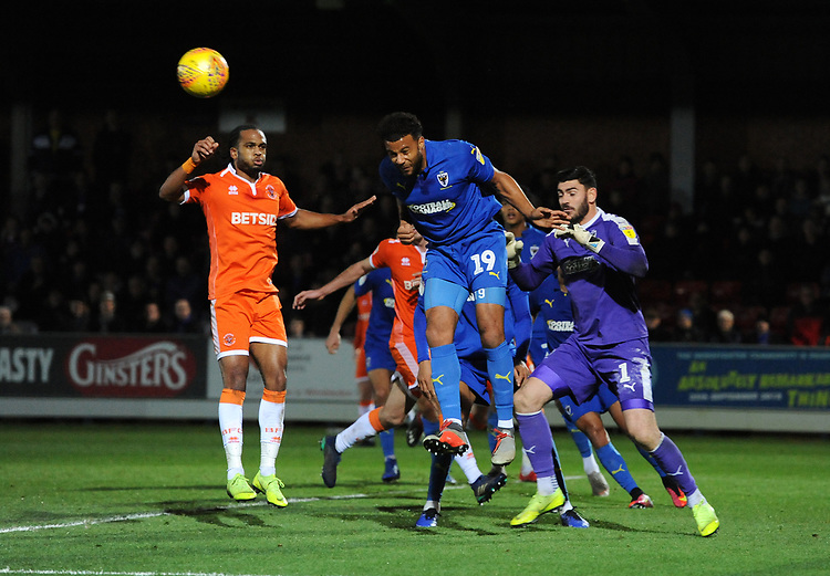 AFC Wimbledon's Tom Soares heads clear<br /> <br /> Photographer Kevin Barnes/CameraSport<br /> <br /> The EFL Sky Bet League One - AFC Wimbledon v Blackpool - Saturday 29th December 2018 - Kingsmeadow Stadium - London<br /> <br /> World Copyright © 2018 CameraSport. All rights reserved. 43 Linden Ave. Countesthorpe. Leicester. England. LE8 5PG - Tel: +44 (0) 116 277 4147 - admin@camerasport.com - www.camerasport.com