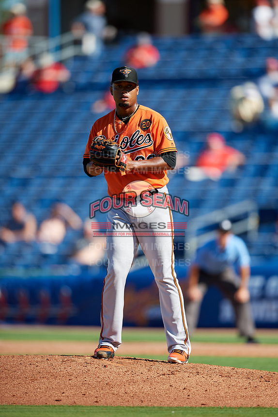 Baltimore Orioles relief pitcher Pedro Araujo (38) gets ready to deliver a pitch during a Grapefruit League Spring Training game against the Philadelphia Phillies on February 28, 2019 at Spectrum Field in Clearwater, Florida.  Orioles tied the Phillies 5-5.  (Mike Janes/Four Seam Images)