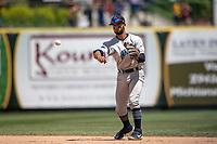 Lake County Captains second baseman Jose Fermin (13) makes a throw to first base against the South Bend Cubs on May 30, 2019 at Four Winds Field in South Bend, Indiana. The Captains defeated the Cubs 5-1.  (Andrew Woolley/Four Seam Images)
