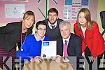 Christian Steinborn from Castleisland Community College who was presented a certificate at his school on Tuesday for reaching the All Ireland final of the RTE Junior Dragons Den l-r: Teresa Lonergan teacher, Christian Steinborn, Killoan Young, Paddy garvey both Bank of Ireland and Grace O'Sullivan teacher