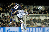 Valencia CF's Andres Guardado (r) and Paris Saint-Germain's Lucas during Champions League 2012/2013 match.February 12,2013. (ALTERPHOTOS/Acero) /NortePhoto