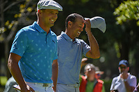 Bryson DeChambeau (USA) and Tiger Woods (USA) share a laugh as they head down 7 during round 1 of the World Golf Championships, Mexico, Club De Golf Chapultepec, Mexico City, Mexico. 2/21/2019.<br /> Picture: Golffile | Ken Murray<br /> <br /> <br /> All photo usage must carry mandatory copyright credit (© Golffile | Ken Murray)
