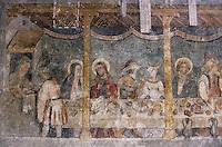 Europe/France/Rhône-Alpes/74/Haute-Savoie/Abondance: Abbaye d'Abondance - Peinture murale de 1430 Atelier Giacomo Gaquerio représentant les noces de Cana