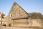 Historic tithe barn in the village of Lacock, Wiltshire, England, UK