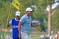 Brooks Koepka (USA) reacts to making a birdie putt on the 17th hole during the third round of the 100th PGA Championship at Bellerive Country Club, St. Louis, Missouri, USA. 8/11/2018.<br /> Picture: Golffile.ie | Brian Spurlock<br /> <br /> All photo usage must carry mandatory copyright credit (&copy; Golffile | Brian Spurlock)