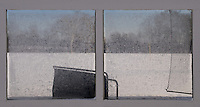 Frost covers the glass shielding golfers from the wind at an outdoor golf driving range in Westerville, Ohio.  Photo Copyright Gary Gardiner. Not for reproduction without written permission.
