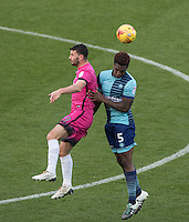 Anthony Stewart of Wycombe Wanderers goes up with Pádraig Amond of Hartlepool United during the Sky Bet League 2 match between Wycombe Wanderers and Hartlepool United at Adams Park, High Wycombe, England on 26 November 2016. Photo by PRiME Media Images.