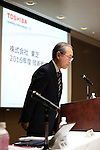October 18, 2016, Tokyo, Japan - Japan's troubled electronics giant Toshiba president Satoshi Tsunakawa speaks before press at a press conference at the company's headquarters in Tokyo on Tuesday, October 18, 2016. Toshiba announced the company's revised technology strategy with the company still recovering from a big loss due to an accounting scandal.   (Photo by Yoshio Tsunoda/AFLO) LWX -ytd-