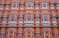The stunningly beautiful front of the Hawa Mahal or Palace of the Winds, Jaipur