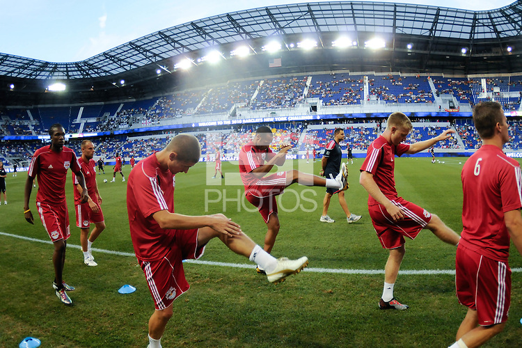 Thierry Henry (14) (C) of the New York Red Bulls during pre-game warm ups. Tottenham Hotspur F. C. defeated the New York Red Bulls 2-1 during a Barclays New York Challenge match at Red Bull Arena in Harrison, NJ, on July 22, 2010.