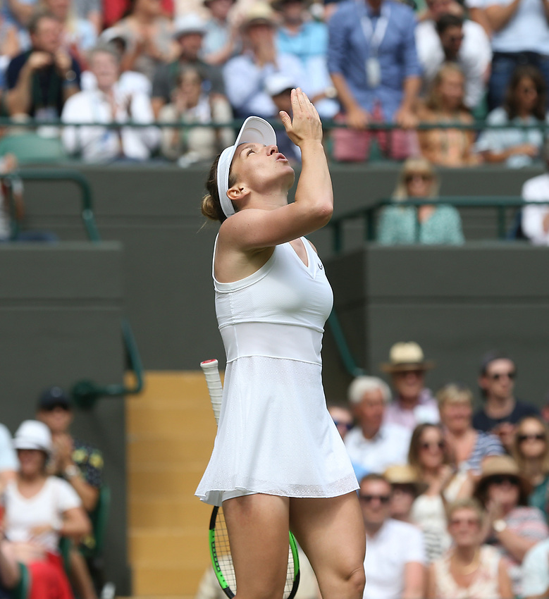 Simona Halep (ROU) blows a kiss to the heavens after winning her match against Cori Gauff (USA) in their Ladies' Singles Fourth Round match<br /> <br /> Photographer Rob Newell/CameraSport<br /> <br /> Wimbledon Lawn Tennis Championships - Day 7 - Monday 8th July 2019 -  All England Lawn Tennis and Croquet Club - Wimbledon - London - England<br /> <br /> World Copyright © 2019 CameraSport. All rights reserved. 43 Linden Ave. Countesthorpe. Leicester. England. LE8 5PG - Tel: +44 (0) 116 277 4147 - admin@camerasport.com - www.camerasport.com