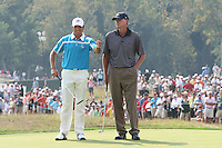 Sergio Garcia and Steve Stricker talking on the 7th green during the saturday afternoon fourball at The 37th Ryder cup from Valhalla Golf Club in Louisville, Kentucky....Photo: Fran Caffrey/www.golffile.ie.