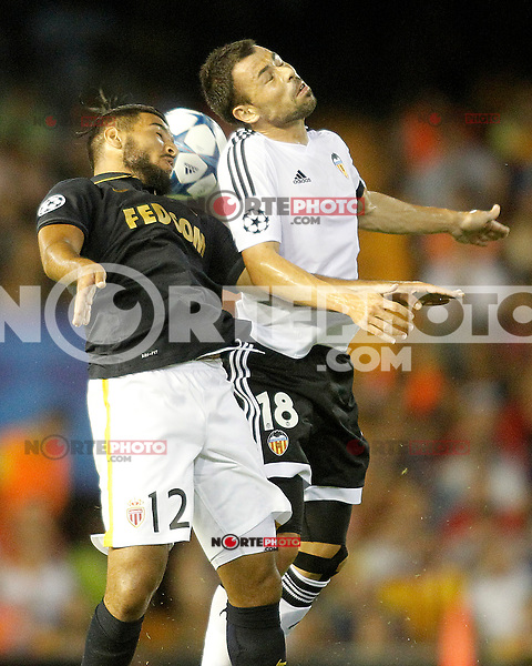 Valencia's Javi Fuego (r) and AS Monaco FC's Fares Bahlouli during Champions League 2015/2016 Play-Offs 1st leg match. August  19,2015. (ALTERPHOTOS/Acero)