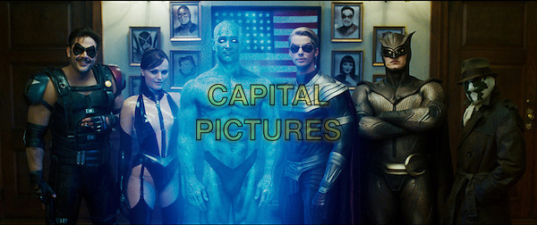 JEFFREY DEAN MORGAN as Comedian, MALIN AKERMAN as Silk Spectre II, BILLY CRUDUP as Dr. Manhattan, MATTHEW GOODE as Ozymandias, PATRICK WILSON as Nite Owl II and JACKIE EARLE HALEY as Rorschach.in Watchmen.*Filmstill - Editorial Use Only*.CAP/FB.Supplied by Capital Pictures.