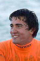 Greg Long smiles after winning the 2008 Mavericks Surf Contest in Half Moon Bay, Calif., Saturday, January 12, 2008.