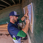 4 September 2017: Vermont Lake Monsters Manager Aaron Nieckula posts the lineups prior to the first game of a double-header against the Tri-City ValleyCats at Centennial Field in Burlington, Vermont. The teams split their day, with Tri-City winning 6-5 in the first game, and the Lake Monsters taking the second 7-4 in NY Penn League action. Mandatory Credit: Ed Wolfstein Photo *** RAW (NEF) Image File Available ***