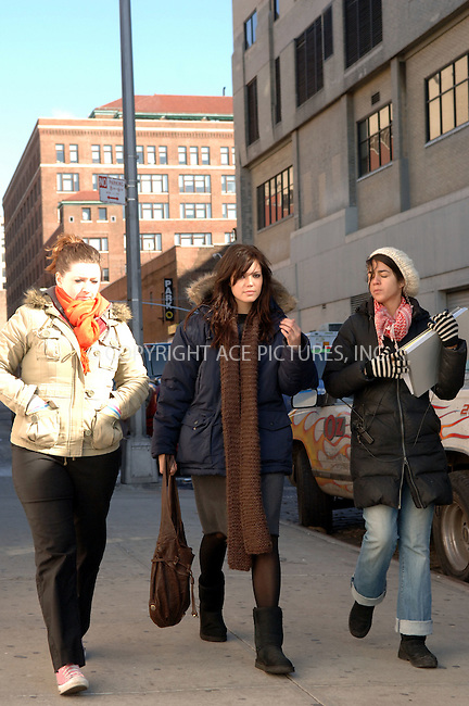 "WWW.ACEPIXS.COM . . . . .  ....March 1 2006,  New York City....**EXCLUSIVE - FEE MUST BE AGREED BEFORE USE**....Mandy Moore on set.....Billy Crudup and Mandy Moore were on the West Village set of their new movie ""Dedication"" This romantic comedy follows a misogynistic children's book author (Crudup) who finds himself having to work closely with a young female illustrator (Moore). The movie is being directed by Justin Theroux.....Please byline: BRETT KAFFEE - ACEPIXS.COM....Ace Pictures, Inc:  ..Philip Vaughan (212) 243-8787 or (646) 769 0430..e-mail: info@acepixs.com..web: http://www.acepixs.com"