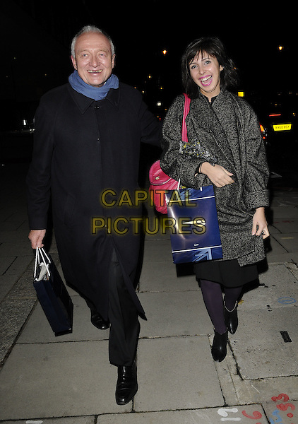 KEN LIVINGSTONE .At the Evening Standard Influentials Party, Altitude 360, Millbank Tower, London, England, UK, .16th November 2010..full length black coat blue scarf smiling bag .CAP/CAN.©Can Nguyen/Capital Pictures.