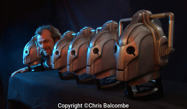 Film and TV Special Effects supremo Neill Gorton, of Millennium FX, pictured with Doctor Who cyberman heads.<br /> <br /> Picture by Chris Balcombe