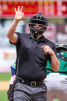 Home plate umpire Lance Seilhamer signals to the booth during a Midwest League game between the Wisconsin Timber Rattlers and the Great Lakes Loons on May 12, 2018 at Fox Cities Stadium in Appleton, Wisconsin. Wisconsin defeated Great Lakes 3-1. (Brad Krause/Four Seam Images)