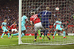 Bastian Schweinsteiger of Manchester United appears to block West Ham's Darren Randolph in the build up to his sides equalising goal during the Emirates FA Cup match at Old Trafford. Photo credit should read: Philip Oldham/Sportimage