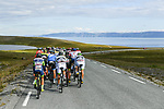 The peloton pass through stunning scenery during Stage 3 of the 2018 Artic Race of Norway, running 194km from Honningsvg to Hammerfest, Norway. 18th August 2018. <br /> <br /> Picture: ASO/Pauline Ballet | Cyclefile<br /> All photos usage must carry mandatory copyright credit (© Cyclefile | ASO/Pauline Ballet)