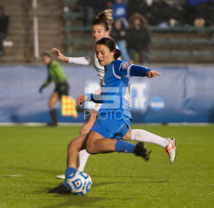 Kodi Lavrusky (10) of UCLA strikes the game-winning goal during the NCAA Women's College Cup finals at WakeMed Soccer Park in Cary, NC.  UCLA defeated Florida State, 1-0, in overtime.